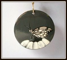 Butterfly Pendant Necklace Black and White by JewelryArtByDawn