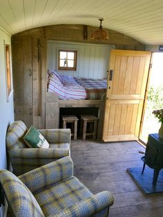 The Shepherd's Shack - Shepherd's huts (UK, France) for Rent in Morvah, England, United Kingdom - The Shepherd's Shack – Shepherd's huts (U., France) for Rent in Morvah - Tyni House, Tiny House Cabin, Tiny House Living, Tiny House Design, Small Space Living, Small Spaces, Living Area, Kombi Home, Shepherds Hut