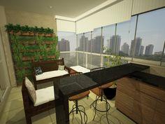 Parede verde a ser instalada na varanda do apto #terraco #varandagourmet #granito #banqueta #paredeverde #jardim
