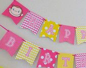 Curious George Happy Birthday Banner Pink & Yellow / Curious George Birthday Party - FILE to PRINT