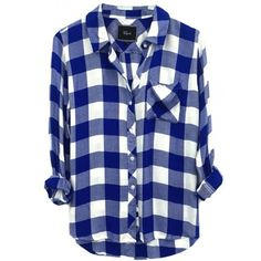 Rails Hunter Button Down Shirt In Cobalt/ White Check found on Polyvore