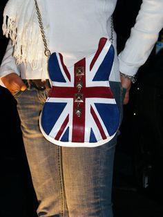 handmade guitar-shaped Union Jack leather bag