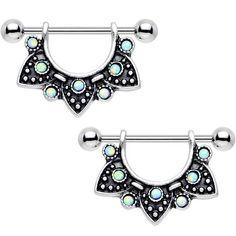 Green Iridescent Synthetic Opal Ancient Aztec Dangle Nipple Shield Set