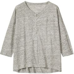 Toast Linen Cocoon Tee ($115) ❤ liked on Polyvore featuring tops, t-shirts, grey melange, jersey tee, linen t shirt, linen tee, loose fit t shirts and gray tee