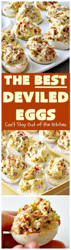 The BEST Deviled Eggs you will ever eat! The secret ingredient to these eggs is bacon! These delicious eggs need real Miracle Whip to accomplish the proper taste Gluten free - food_drink Best Deviled Eggs, Deviled Eggs Recipe, Perfect Deviled Eggs, Devilled Eggs Recipe Best, Tapas, Egg Recipes, Cooking Recipes, Healthy Recipes, Kitchen Recipes