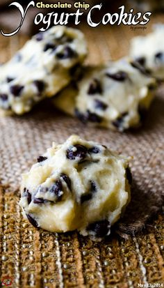 Chocolate Chip Yogurt Cookies. No butter is required for these chocolate chip loaded cookies, but they are equally soft. No magic here, Greek yogurt makes a perfect substitution! | giverecipe.com | #cookies#yogurt