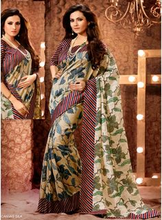 Alluring Cream Printed And Georgette With Border Work Designer Saree. Buy Online Printed Saree At New Delhi.  http://www.angelnx.com/