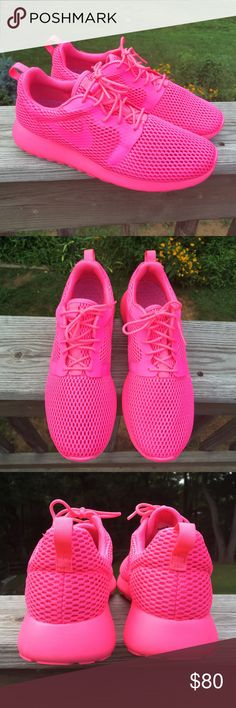 Women's Nike Roshe One Hyper Breathe Size 8.5 in the color Pink Blast/Fire Pink. New without box. These are definitely a statement shoe. NO TRADES! Breathe easy in the ultra-light, summer-ready Women's Nike Roshe One Breathe. Featherlight, open hole mesh material offers maximum airflow, while Hyperfuse construction fuses the upper materials together without bulk. An Ortholite sockliner locks in comfort for a plush feel underfoot, while the durable combination midsole/outsole ties this easy…