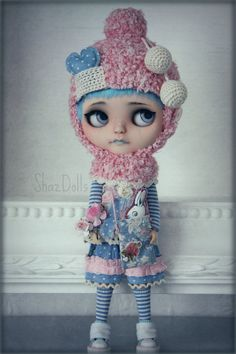 Special OOAK Outfit Cosy Romantic Pink and Blue for by Shazdolls