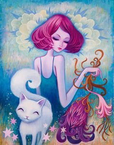 The White Kitty. 11x14 inches, Acrylic on Wood. ©Jeremiah Ketner 2013