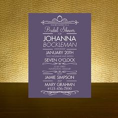 Dark Purple - Bridal Shower Invitation