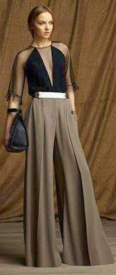 Free Palazzo Pant Sewing Pattern size 38 only Portuguese TRANSFORMATION CALÇAS_2 Molds ~ Fashion for Measure