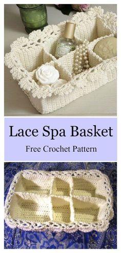 Lace Spa Basket Free Crochet Pattern #freecrochetpatterns #giftideas #baskets