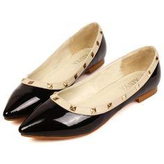 MXN144.30Casual Pointed Toe Closed Basic Low Heel Black PU Flats
