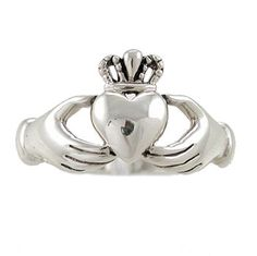 Irish Friendship & Love Band Celtic Claddagh Ring in Sterling Silver, Sizes 5, 6, 7, 8, and 9, #2601