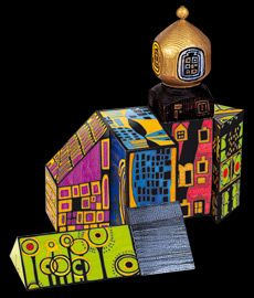 Hundertwasser - hand painted architecture blocks. Hmm...temporary collaborative. Each student makes their own piece that can be stackable. End art piece could be temp sculpture?