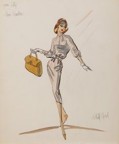 Edith Head  1957 Costume sketch for Marlene Dietrich from Witness for the Prosecution