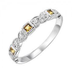 10k white gold diamond and square citrine birthstone ring