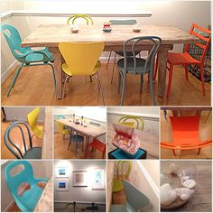 Created our own mix & match dining chairs and farm style table to create a bright eclectic dining area.  Chairs from Crate & Barrel, Room & Board and Humbra. Dining table 2nd hand from Miss Pixies's - DC.  #furniture #dining #diningchairs #diningtable #brightcolors #mixnmatch #eclectic #mismatched