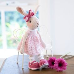 Amigurumi crochet doll – cute cozy beige bunny rabbit in a pink knitted dress - Hase Crochet Rabbit, Crochet Toys, Crochet Animals, Knitted Bunnies, Childrens Gifts, Bunny Rabbit, Pink Rabbit, Amigurumi Toys, Embroidery Thread