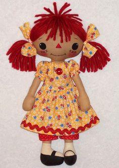 free soft doll patterns | ... Pattern for primitive Raggedy Ann Annie Rag Doll, Cloth Doll Pattern