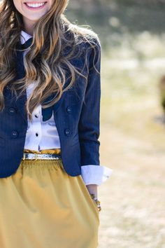 Would love to have a light mustard corduroy skirt to put under a denim jacket and maybe a striped tee. Very nice.