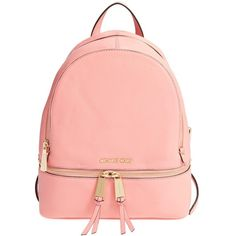 MICHAEL Michael Kors 'Small Rhea Zip' Leather Backpack ($298) ❤ liked on Polyvore featuring bags, backpacks, genuine leather shoulder bag, pocket backpack, backpack shoulder bag, leather knapsack and leather bags