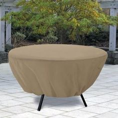 Round Patio Table Cover in Sand