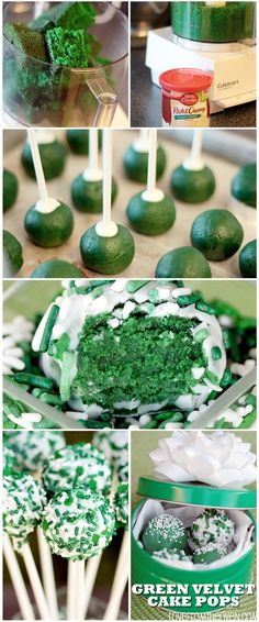 Green Velvet Cake Pops are such a fun treat for St. These are really easy to make and so festive! Holiday Desserts, Holiday Treats, Holiday Recipes, Holiday Fun, Festive, Oreo Cake Pops, Cakepops, Green Velvet Cake, Green Cake