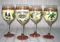 from place to place our themed wine glasses make a unique gift. hand-painted and designed featuring places of interest or favorite spots and personalized with names. $25 per piece for set of two or more.