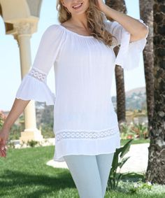 Look what I found on #zulily! White Bell-Sleeve Peasant Tunic #zulilyfinds