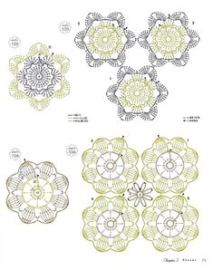 "Photo from album ""Crochet 130 Lovely Motifs & Small Items"" on Yandex. Crochet Bedspread Pattern, Crochet Motif, Irish Crochet, Crochet Doilies, Crochet Flowers, Crochet Patterns, Crochet Stitches Chart, Crochet Basics, Crochet Square Blanket"
