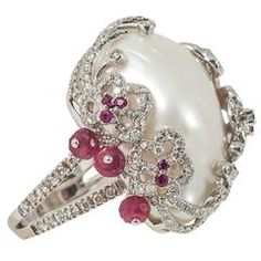 Baroque Pearl Ruby diamond gold cocktail Ring