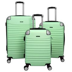 Take to the road or the air easier with this World Traveler Thrills three-piece luggage set in a variety of bright or classic colors. Pack for a variety of trips with one set thanks to three different Luggage Sets, Travel Luggage, Travel Bags, Universal Studios, Amusement Parks In California, Sports Locker, Cute Suitcases, Travel Europe Cheap, Hardside Spinner Luggage