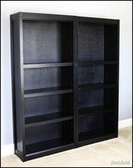 Making Walmart bookshelves look like Crate  Barrel shelves - definitely doing this!!
