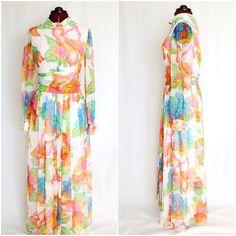 Vintage 1960s Bright Floral Maxi Summer Dress by InPursuitVintage