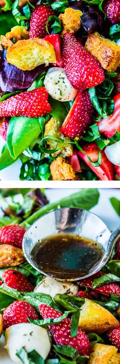 Strawberry Panzanella Salad from The Food Charlatan // This salad is so easy and has a TON of strawberries! Plus fried bread. Perfect for Easter!