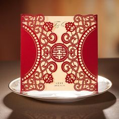Chinese New Year Card Red Laser Cut Free Personalized & Customized Printing Wedding Invitations Cards (Set of 50) Free Shipping