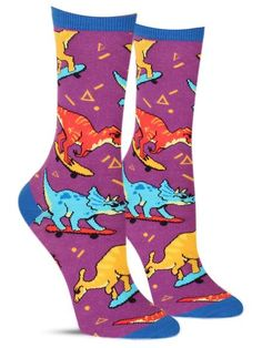 Skate or Dinosaur Socks Dinosaur Socks, Dinosaur Outfit, Dinosaur Funny, Sloth Socks, Dog Socks, Funny Socks, Silly Socks, Happy Socks, Neon Purple