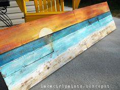 DIY: Lake Girl Paints: Sunset Beach Art from Fence Boards - Beach Decor/Sea Shells - Diy deko Sunset Beach, Beach Art, Beach Wood, Sunset Art, Arte Pallet, Art Plage, Beach Signs, Beach Crafts, Beach Cottages