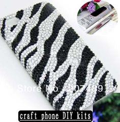 3d luxe zwart wit sieraden strass ambachtelijke kunst mobiele telefoon mobiele telefoon gevallen diy kit decoraties lijm gereedschap whcn