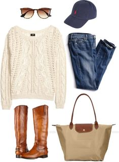 preppy-fairytale: cozy casual. by sarahmay42 featuring a folding tote bag ❤ liked on PolyvoreH&M cotton sweater, $31 / Victoria's Secret slim jeans / Frye low heel leather boots / Longchamp folding tote bag / Polo Ralph Lauren embroidered hat, $47 / J.Crew wayfarer style glasses