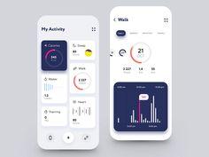 Sport Activity Dashboard App by Ann Negrebetskaya for STFN on Dribbble Dashboard App, Dashboard Design, App Ui Design, Mobile App Design, Design Web, Graphic Design, App Login, Design Layouts, Flat Design