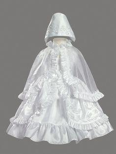 Ribboned Taffeta Dress w/ Ruffled Cape Christening Gown