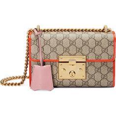 Gucci Padlock Small GG Supreme Shoulder Bag ($1,590) ❤ liked on Polyvore featuring bags, handbags, shoulder bags, shoulder handbags, handbags purses, chain strap purse, handbags shoulder bags and man bag
