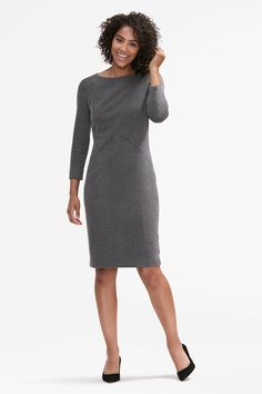 Want a dress that's modest, but still holds the spotlight? The Angela has a chic bateau neckline, full-length sleeves, and diagonal seams through the torso for a tailored, flattering shape. Work Dresses For Women, Bateau Neckline, Ribbed Fabric, Gray Dress, Dress Skirt, Fashion Beauty, Polyvore, Chic, My Style