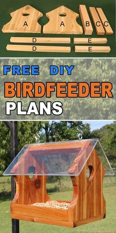 Create a simple homemade or handmade wild hanging wooden platform or tray bird feeder. Create a simple, homemade, contemporary, hanging platform bird feeder for your feather friends. Wood Bird Feeder, Make A Bird Feeder, Bird Feeder Plans, Squirrel Feeder, Bird House Feeder, Hanging Bird Feeders, Best Bird Feeders, Homemade Bird Houses, Homemade Bird Feeders