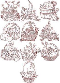 Harvest Basket Redwork Set