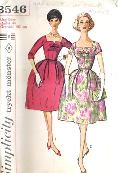 1960s Cocktail Dress Pattern in Swedish