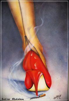 Pintura acrílica - *ZAPATO DE TACÓN* - hecho a mano por Luisa-Margarita- en DaWanda